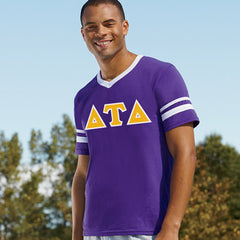 Delta Tau Delta Striped Tee with Twill Letters - Augusta 360 - TWILL