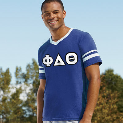 Phi Delta Theta Striped Tee with Twill Letters - Augusta 360 - TWILL