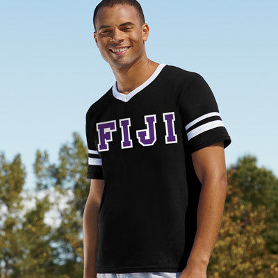 Fiji Striped Tee with Twill Letters - Augusta 360 - TWILL