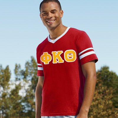 Phi Kappa Theta Striped Tee with Twill Letters - Augusta 360 - TWILL
