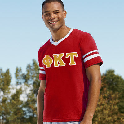 Phi Kappa Tau Striped Tee with Twill Letters - Augusta 360 - TWILL