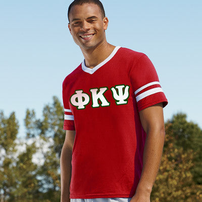 Phi Kappa Psi Striped Tee with Twill Letters - Augusta 360 - TWILL