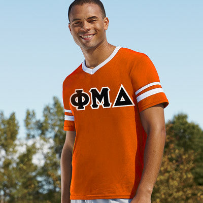 Phi Mu Delta Striped Tee with Twill Letters - Augusta 360 - TWILL
