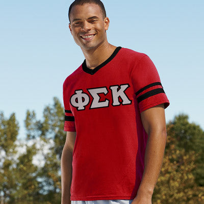 Phi Sigma Kappa Striped Tee with Twill Letters - Augusta 360 - TWILL