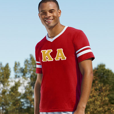 Kappa Alpha Striped Tee with Twill Letters - Augusta 360 - TWILL