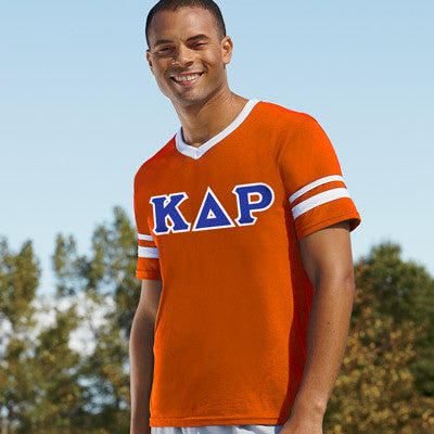 Kappa Delta Rho Striped Tee with Twill Letters - Augusta 360 - TWILL