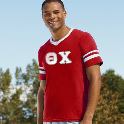 Theta Chi Striped Tee with Twill Letters - Augusta 360 - TWILL