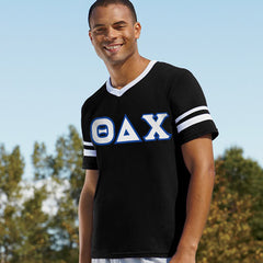 Theta Delta Chi Striped Tee with Twill Letters - Augusta 360 - TWILL