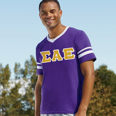 Sigma Alpha Epsilon Striped Tee with Twill Letters - Augusta 360 - TWILL