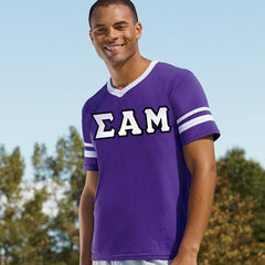 Sigma Alpha Mu Striped Tee with Twill Letters - Augusta 360