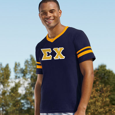 Sigma Chi Striped Tee with Twill Letters - Augusta 360 - TWILL