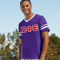 Sigma Phi Epsilon Striped Tee with Twill Letters - Augusta 360 - TWILL