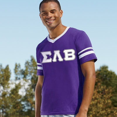 Sigma Lambda Beta Striped Tee with Twill Letters - Augusta 360 - TWILL
