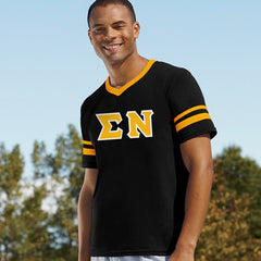 Sigma Nu Striped Tee with Twill Letters - Augusta 360 - TWILL