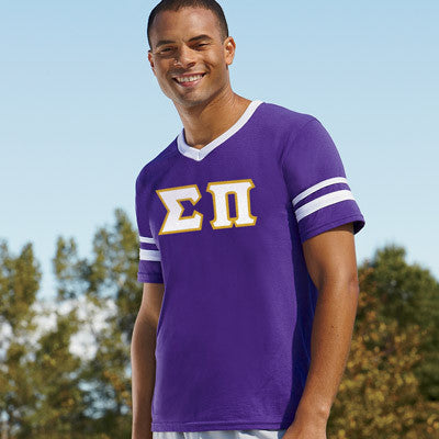 Sigma Pi Striped Tee with Twill Letters - Augusta 360 - TWILL