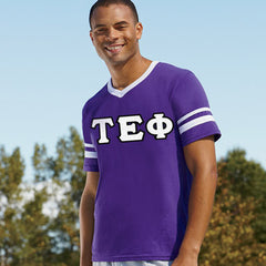 Tau Epsilon Phi Striped Tee with Twill Letters - Augusta 360 - TWILL