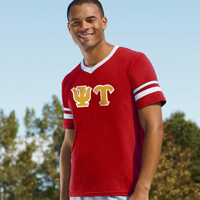 Psi Upsilon Striped Tee with Twill Letters - Augusta 360 - TWILL