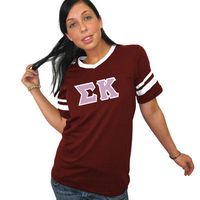 Sigma Kappa Striped Tee with Twill Letters - Augusta 360 - TWILL