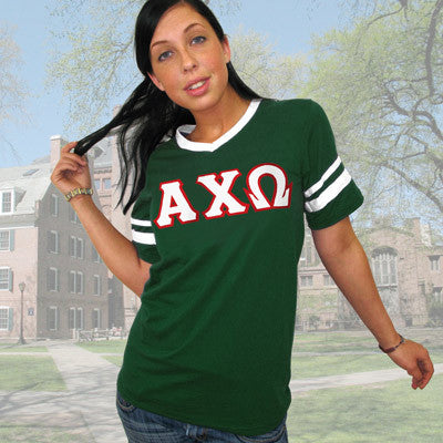 Alpha Chi Omega Striped Tee with Twill Letters - Augusta 360 - TWILL