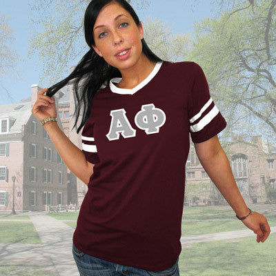 Alpha Phi Striped Tee with Twill Letters - Augusta 360 - TWILL