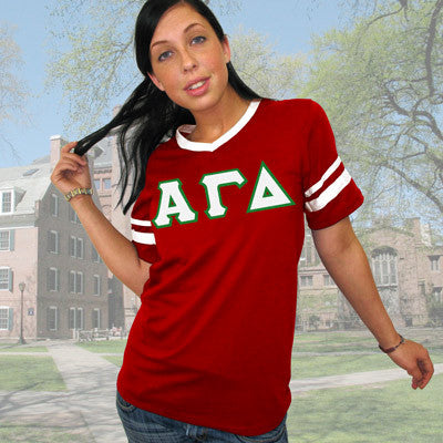 Alpha Gamma Delta Striped Tee with Twill Letters - Augusta 360