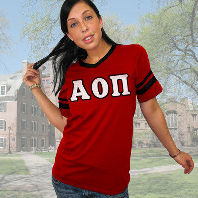 Alpha Omicron Pi Striped Tee with Twill Letters - Augusta 360 - TWILL