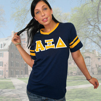 Alpha Xi Delta Striped Tee with Twill Letters - Augusta 360 - TWILL