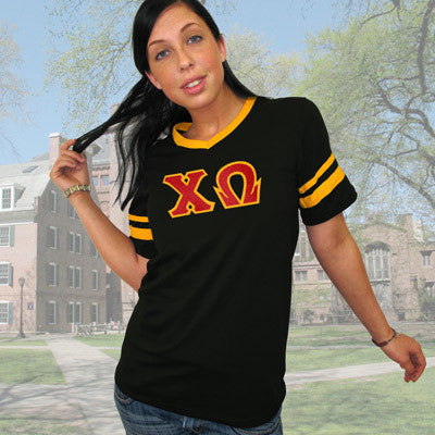 Chi Omega Striped Tee with Twill Letters - Augusta 360 - TWILL