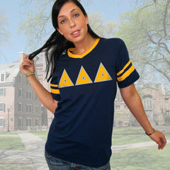 Delta Delta Delta Striped Tee with Twill Letters - Augusta 360 - TWILL
