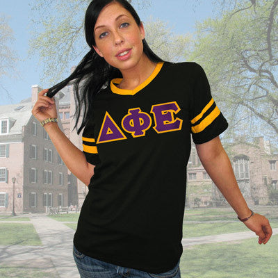 Delta Phi Epsilon Striped Tee with Twill Letters - Augusta 360 - TWILL