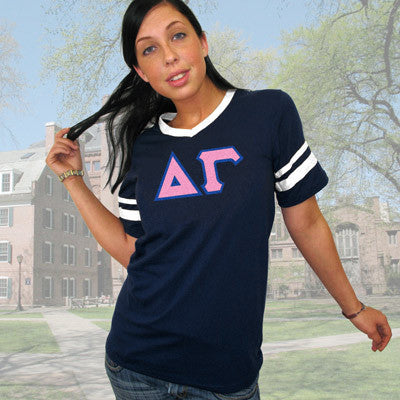 Delta Gamma Striped Tee with Twill Letters - Augusta 360 - TWILL