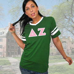 Delta Zeta Striped Tee with Twill Letters - Augusta 360 - TWILL