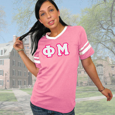 Phi Mu Striped Tee with Twill Letters - Augusta 360 - TWILL