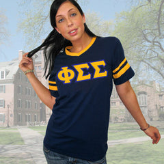Phi Sigma Sigma Striped Tee with Twill Letters - Augusta 360 - TWILL