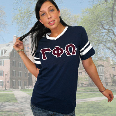 Gamma Phi Omega Striped Tee with Twill Letters - Augusta 360 - TWILL