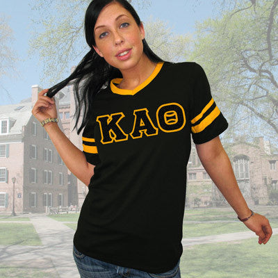 Kappa Alpha Theta Striped Tee with Twill Letters - Augusta 360 - TWILL