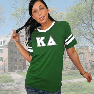 Kappa Delta Striped Tee with Twill Letters - Augusta 360 - TWILL