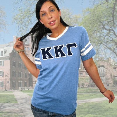 Kappa Kappa Gamma Striped Tee with Twill Letters - Augusta 360 - TWILL