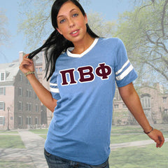 Pi Beta Phi Striped Tee with Twill Letters - Augusta 360 - TWILL