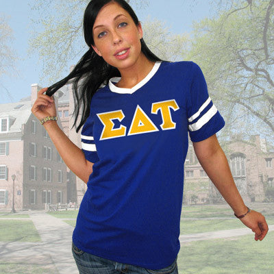 Sigma Delta Tau Striped Tee with Twill Letters - Augusta 360 - TWILL