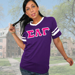 Sigma Lambda Gamma Striped Tee with Twill Letters - Augusta 360 - TWILL