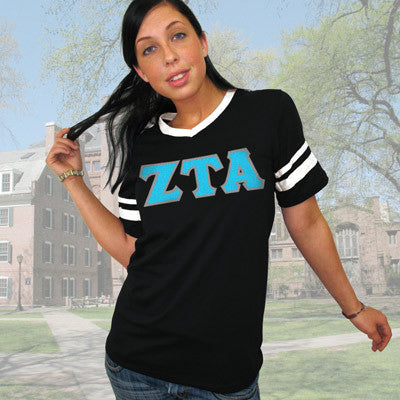 Zeta Tau Alpha Striped Tee with Twill Letters - Augusta 360 - TWILL
