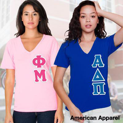 Sorority Vertical V-Neck Tee Package - American Apparel 2456W - TWILL