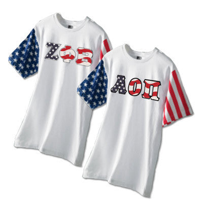 Greek Stars and Stripes T-Shirt with Sewn-On Letters - Code V 3976 - TWILL