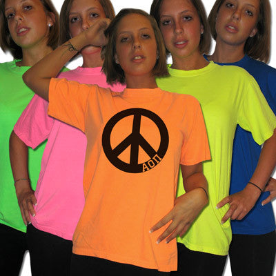 Greek Neon Peace Sign Printed Tee - Gildan 61 - CAD