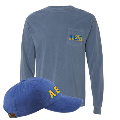 Fraternity Comfort Colors Printed Pocket Long-Sleeve and Hat Package - Comfort Colors 4410,AD969 - DIG