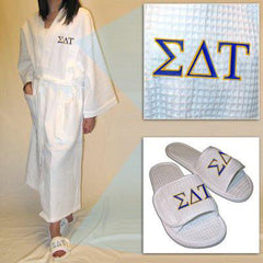 Sorority Robe and Slippers Spa Set - EMB