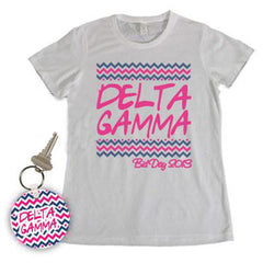 Sorority Bid Day Chevron Package - Tee and Keychain - SUB