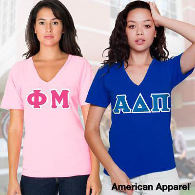 Sorority Horizontal V-Neck Tee Package - American Apparel 2456W - TWILL