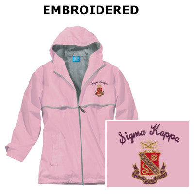 Sorority Embroidered Southern Rain Jacket with Crest - Charles River 5099 - EMB